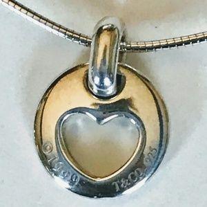 Tiffany &Co 925 Silver 1997 Stencil Heart Necklace